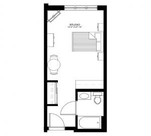 Studio and Deluxe Studios 325-340 sq ft
