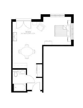 Open One Bedroom 475 sq ft